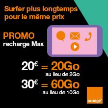 offre promo sur recharges Oranges Max